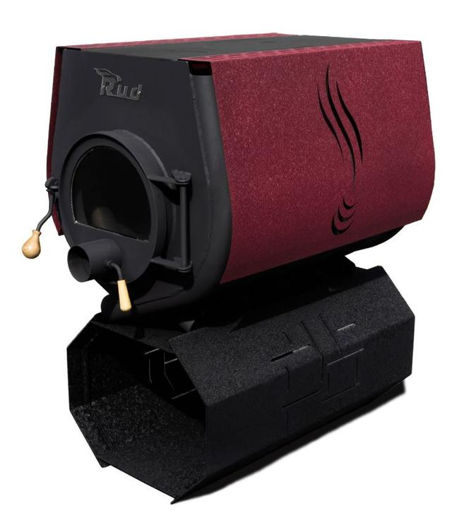 Печь-булерьян Rud Pyrotron Кантри 03 с варочной поверхностью + стекло (бордовый)