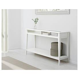 IKEA, LIATORP, Консольный стол, белый, стекло, 133x37 см (001.050.64)(00105064) ЛИАТОРП ИКЕА