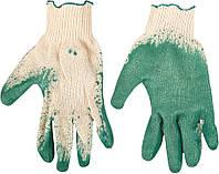 Перчатки рабочие х/б, резиновое покрытие, желтые, размер 9 Top Tools 83S207.