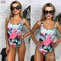 Купальник женский слитный стильный с фламинго Kkv178