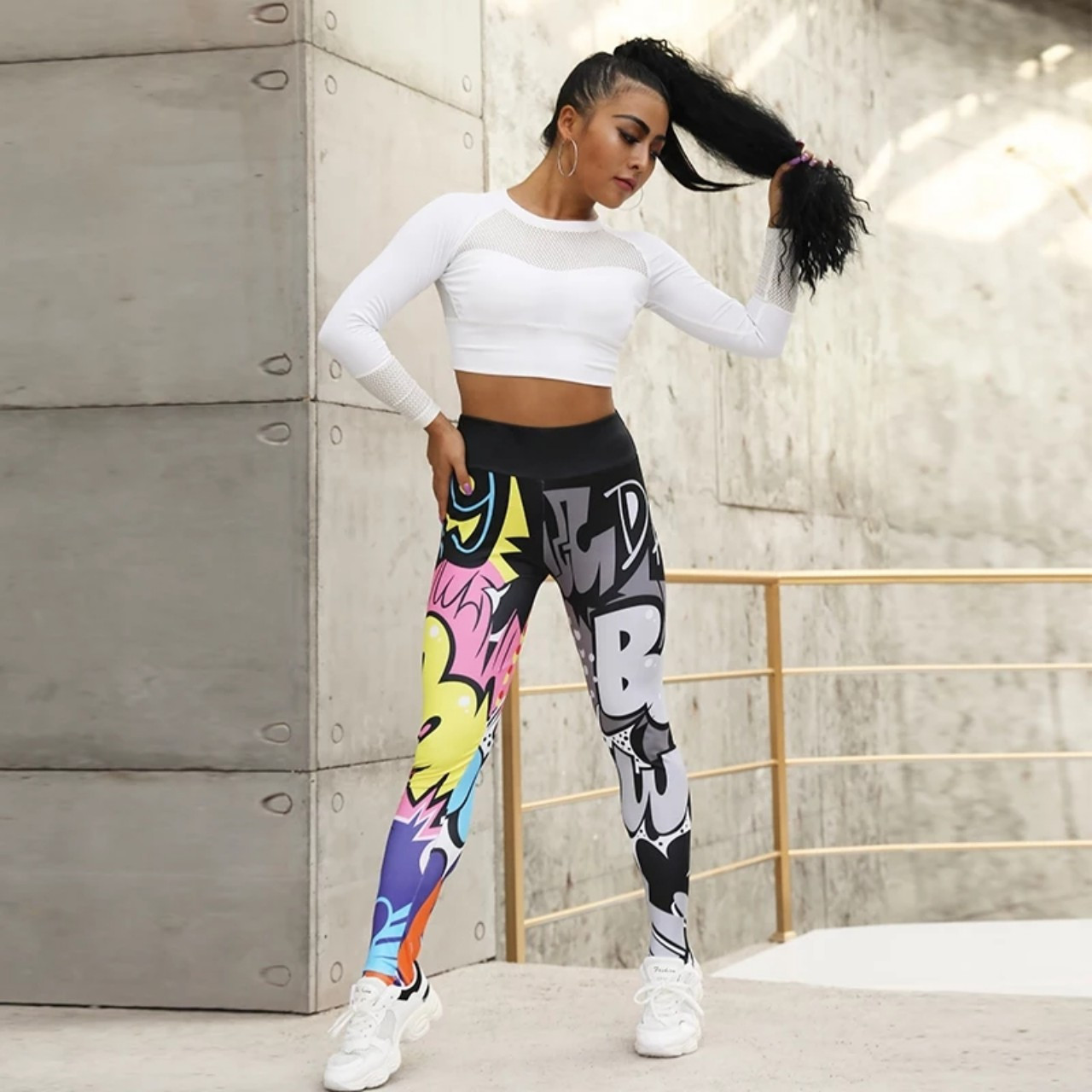 Яркие женские леггинсы для фитнеса S,M,XL