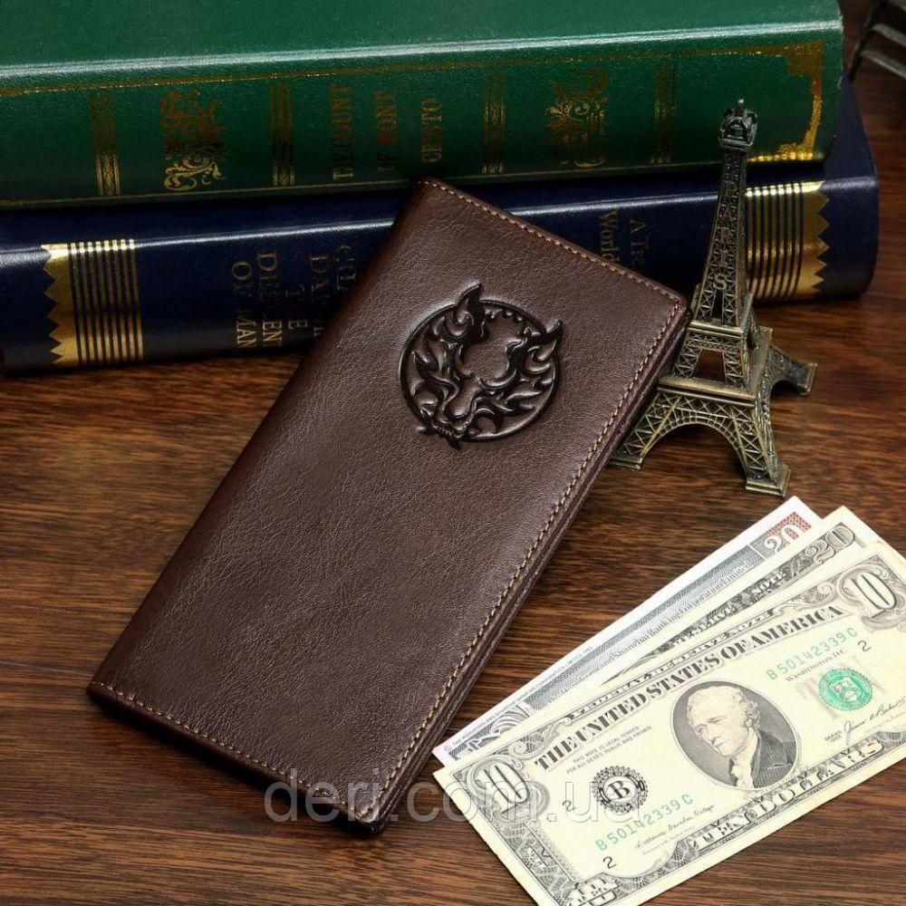 Купюрник мужской Vintage кожаный Коричневый, Коричневый