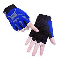 Перчатки велосипедные Jun беспалые детские велоперчатки Blue