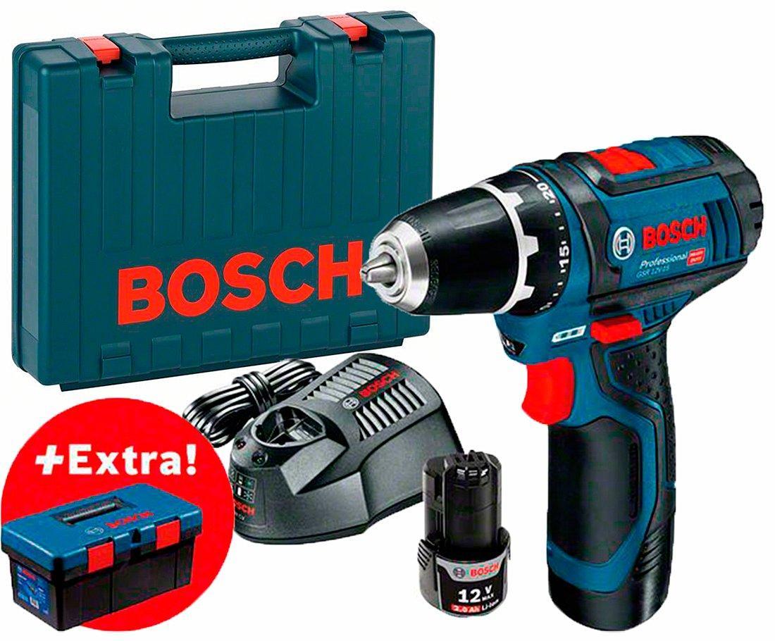 Аккумуляторная дрель-шуруповерт Bosch GSR 12V-15 + з/у GAL 1230 CV + 2 акб GBA 12V 2Ah + чемодан + ящик PRO (0615990L28)