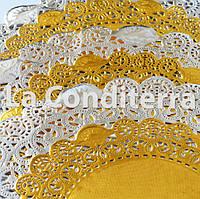 Золотые салфетки ажурные, d=41 см (10 шт.), фото 1