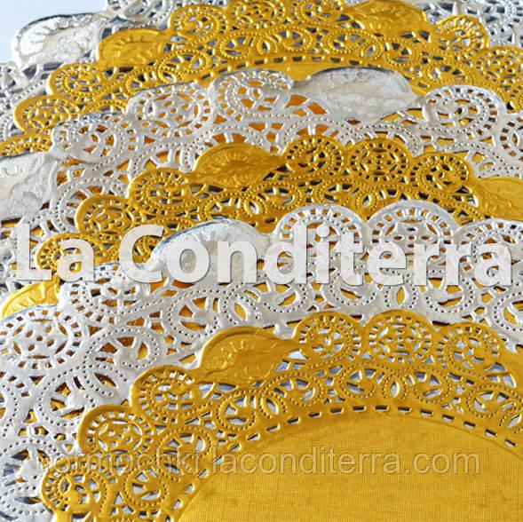 Золотые салфетки ажурные, d=41 см (10 шт.)