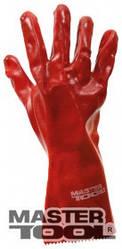 """MasterTool  Перчатки кислотостойкие, х/б трикотаж, полноеПВХ покрытие, манжет крага(красные)350мм,10,5"""",185-190г, Арт.: 83-0502"""