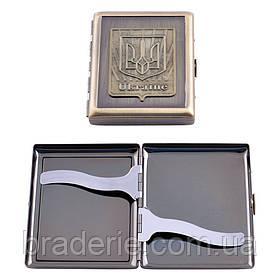 Портсигар металлический с гербом Украины на 20 сигарет