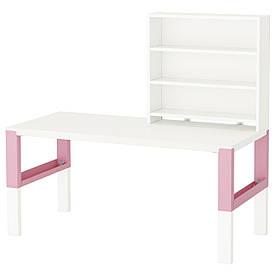 IKEA, PAHL, Письменн стол с полками, белый, розовый, 128x58 см (391.289.98)(39128998) ПАХЛ ИКЕА