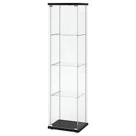 IKEA, DETOLF, Шкаф-витрина, черно-коричневый, 43x163 см (101.192.06)(S10119206) ДЕТОЛФ ИКЕА