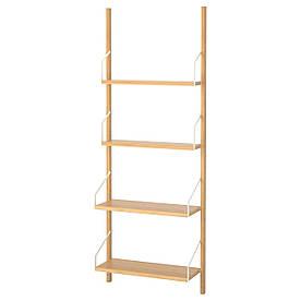 IKEA, SVALNAS, Стеллаж стенного крепления, бамбук, 66x25x176 см (791.844.35)(S79184435) СВАЛНАС ИКЕА