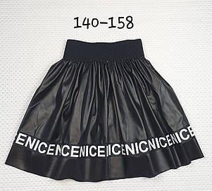 Юбка подросток кожзам со вставкой буквы  140-158 ЧЕРНЫЙ, фото 2