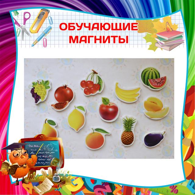 Обучающие магниты. Животные, овощи, фрукты. Развивающие магнитики