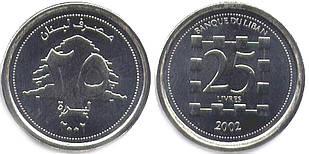 Lebanon Ливан 25 Pounds 2002 UNC