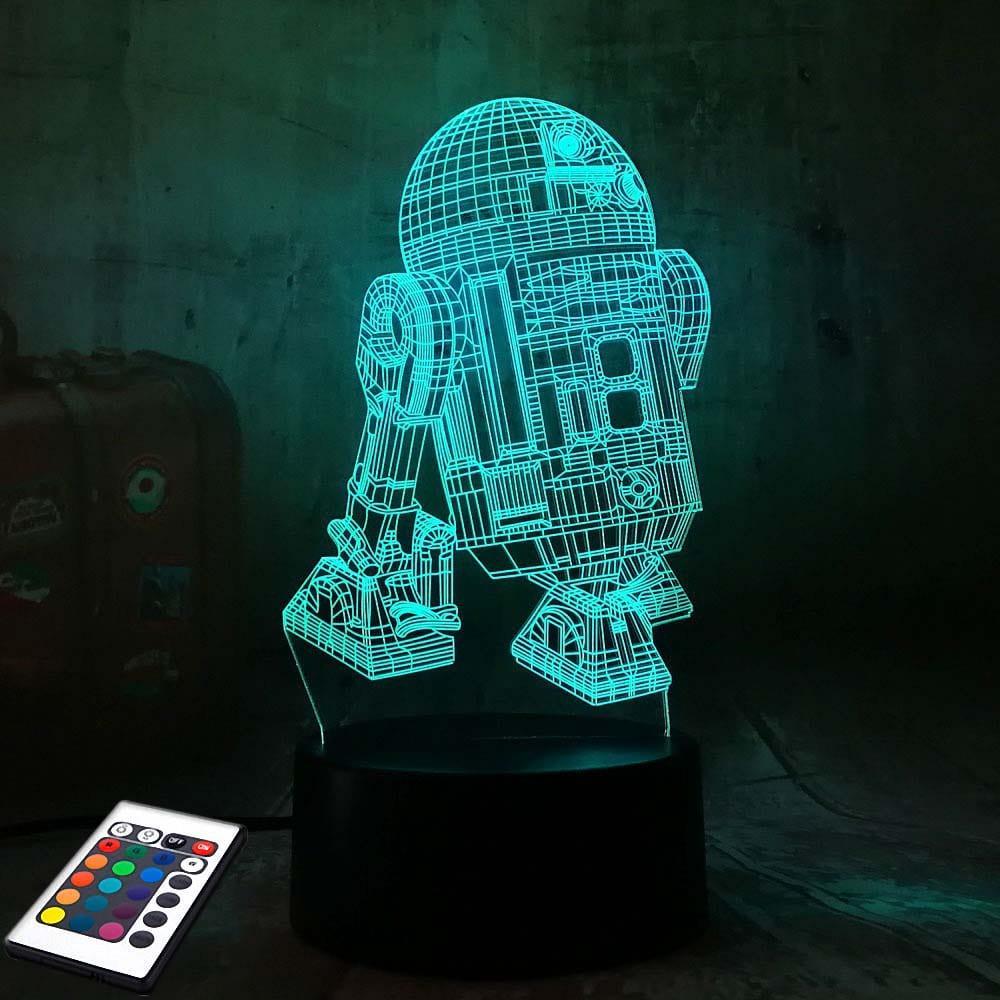 3D светильник с пультом и аккумулятором 3D Lamp R2D2 (LP-2944)
