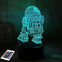 3D светильник с пультом и аккумулятором 3D Lamp R2D2 (LP-2944), фото 1