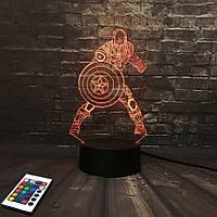 3D светильник с пультом и аккумулятором 3D Lamp Капитан Америка v.2 (LP-2832), фото 1
