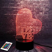 3D светильник с пультом и аккумулятором 3D Lamp Сердце Love (LP-2816), фото 1
