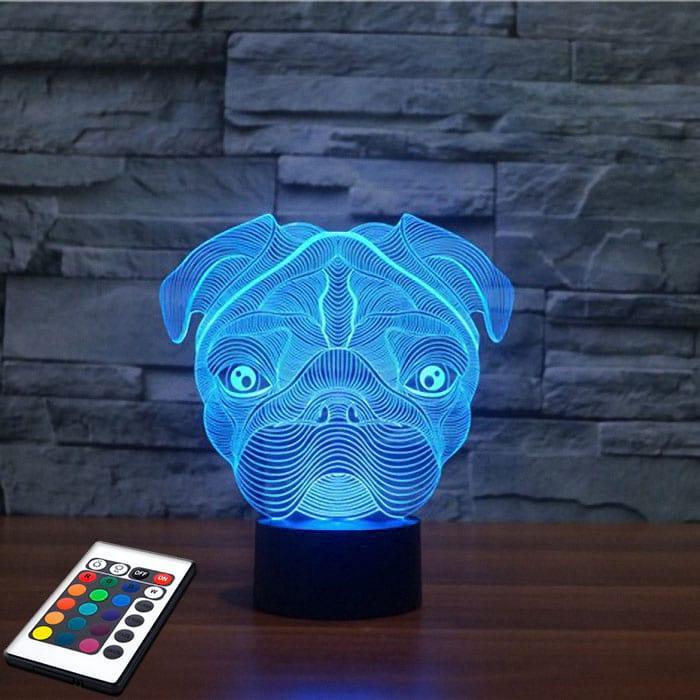 3D светильник с пультом 3D Lamp Мопс (LP-2778)