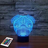 3D светильник с пультом и аккумулятором 3D Lamp Мопс (LP-2778), фото 1