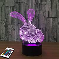 3D светильник с пультом 3D Lamp Заяц (LP-2770), фото 1