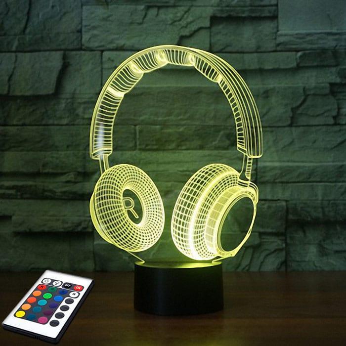 3D светильник с пультом 3D Lamp Наушники v.2 (LP-2762)