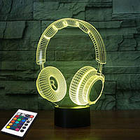 3D светильник с пультом 3D Lamp Наушники v.2 (LP-2762), фото 1