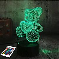3D светильник с пультом 3D Lamp Мишка с сердцем (LP-2738), фото 1