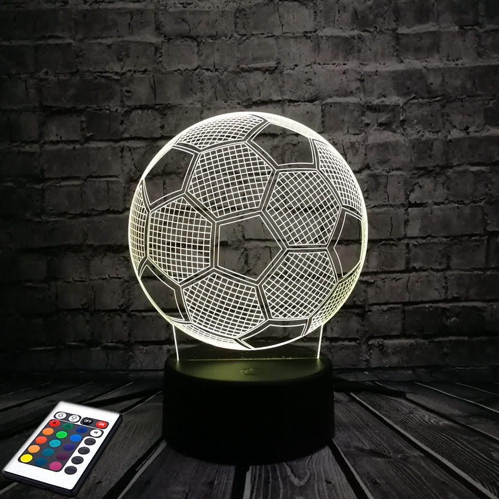 3D светильник с пультом и аккумулятором 3D Lamp Футбольный мяч (LP-2713)