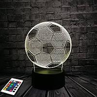 3D светильник с пультом и аккумулятором 3D Lamp Футбольный мяч (LP-2713), фото 1