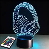 3D светильник с пультом и аккумулятором 3D Lamp Наушники (LP-2619), фото 1