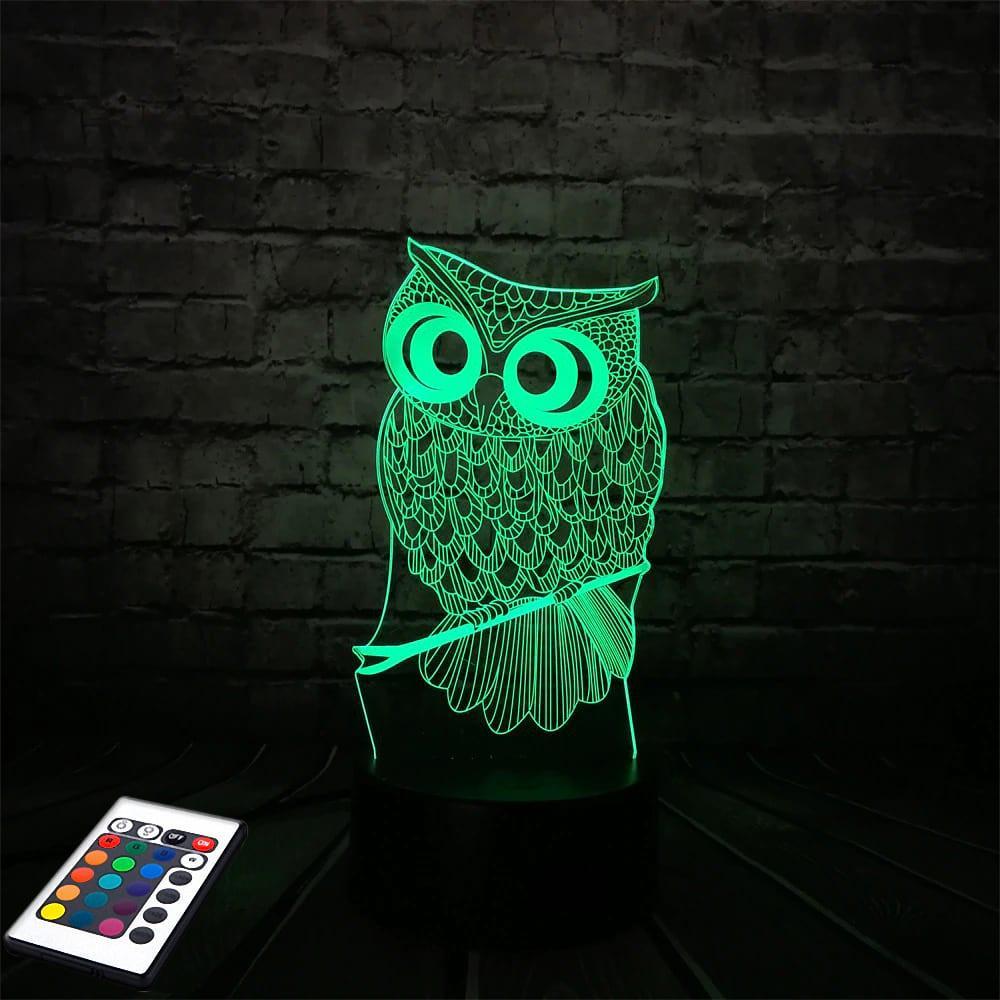 3D светильник с пультом 3D Lamp Сова (LP-2612)