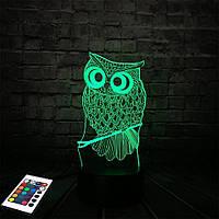 3D светильник с пультом и аккумулятором 3D Lamp Сова (LP-2612), фото 1