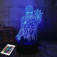 3D светильник с пультом и аккумулятором 3D Lamp Железный человек v.4 (LP-2589), фото 1