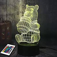 3D светильник с пультом и аккумулятором 3D Lamp Винни-Пух (LP-2496), фото 1