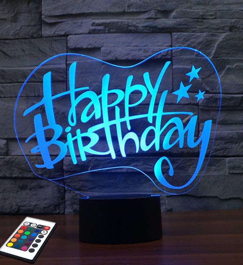 3D светильник с пультом и аккумулятором 3D Lamp День Рождения v.2 (LP-2471)