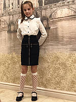 """Юбка школьнаядля девочки """"Карандаш"""" молния от 6до 11 леттёмно синего цвета, фото 1"""