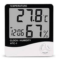 Цифровой термогигрометр HTC-1 термометр, влажность, часы (-50°C до 70°C) цифровой ЖК термометр