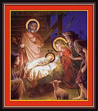 """Набор для рисования камнями 5D (частичная выкладка на холсте) """"Рождество Христово"""" LasKo"""