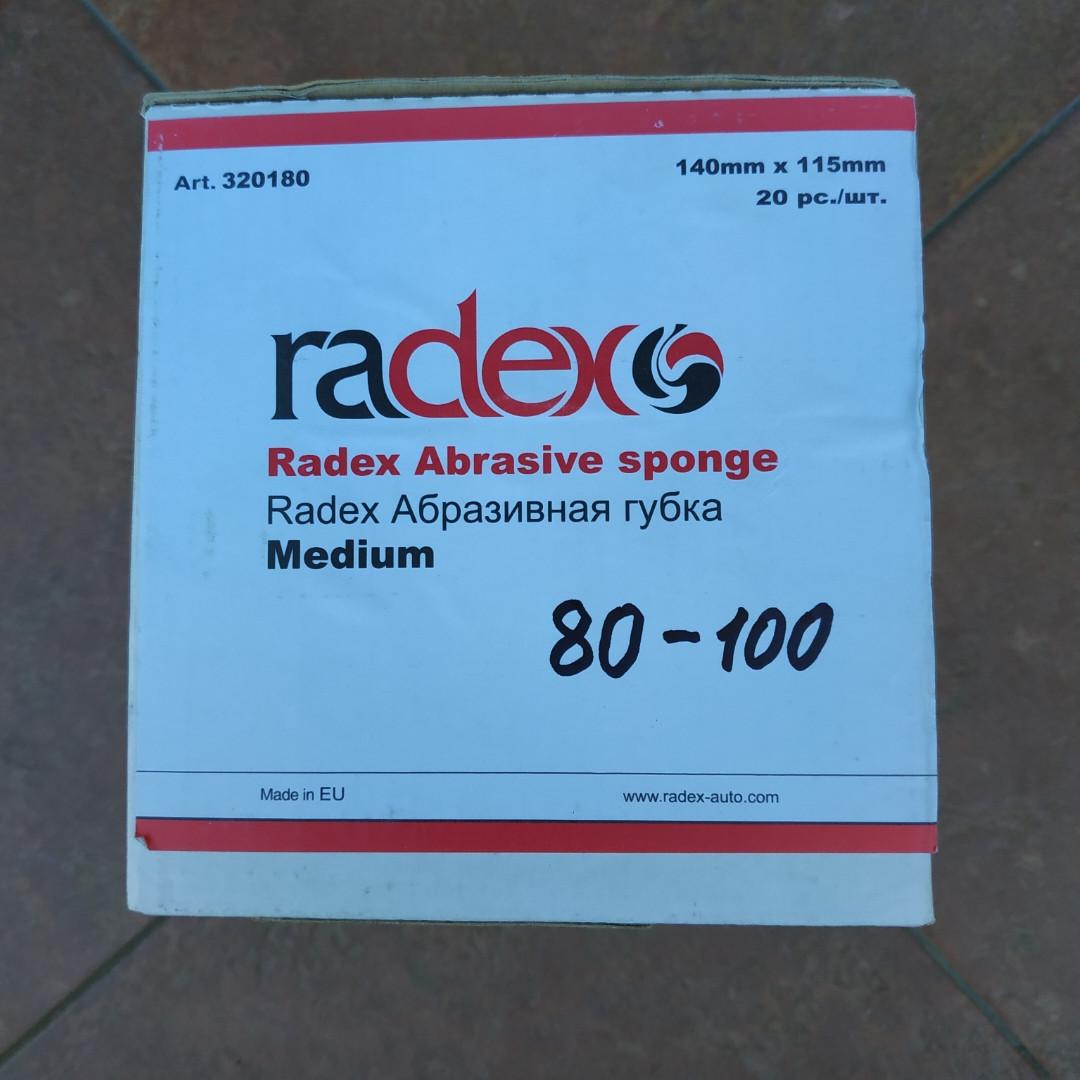Скотч-брайт абразивная губка Radex (середня) Р 80-100