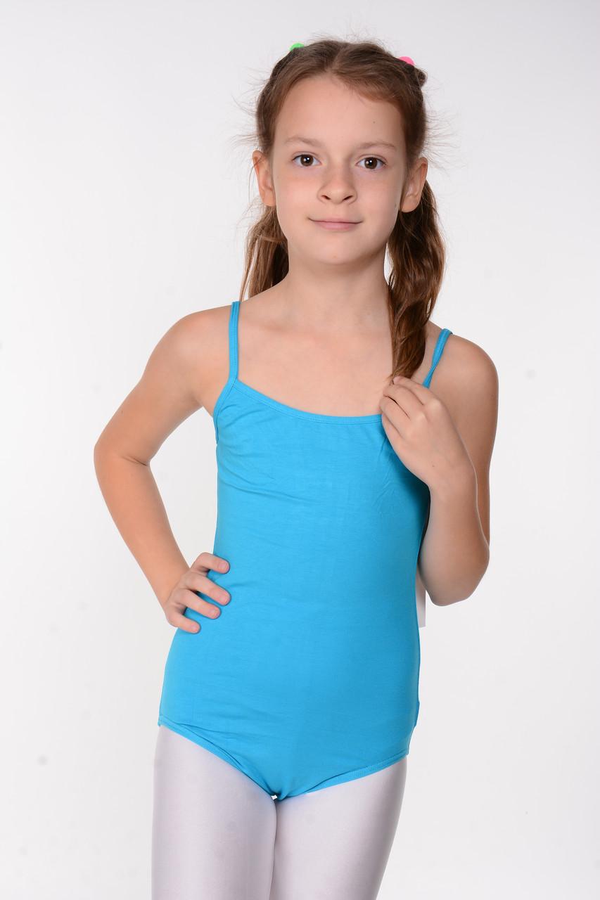 Детский купальник-боди для гимнастики Голубой