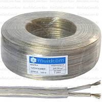 Кабель электрический Multicom 2x0.35мм², TinCCA, плоский, прозрачный, 100м