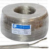 Кабель электрический Multicom 2x0.35мм², TinCCA, круглый, прозрачный, 100м