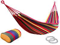 Гамак ткань хлопок для дома дачи и отдыха подвесной + тряпичный рюкзачок 2 расцветки скидка