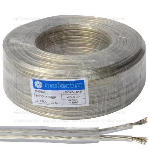 Кабель электрический Multicom 2x0.5мм², TinCCA, плоский, прозрачный, 100м