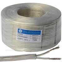 Кабель электрический Multicom 2x0.5мм², TinCCA, круглый, прозрачный, 100м