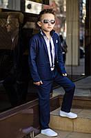 Детский стильный классический брючный костюм тройка для мальчиков(брюки ,пиджак, рубашка). Ткань лен