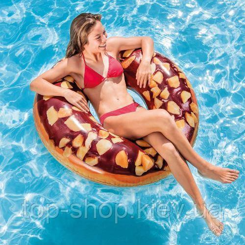 """Надувной пляжный круг """"Пончик шоколад"""" Intex 114 см"""