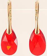 "Серьги ХР Позолота 18K с кристаллами Swarovski французский замок ""Кристалл Light Siam на дужке"""