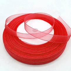 Лента органза 10 мм 46 метров красная